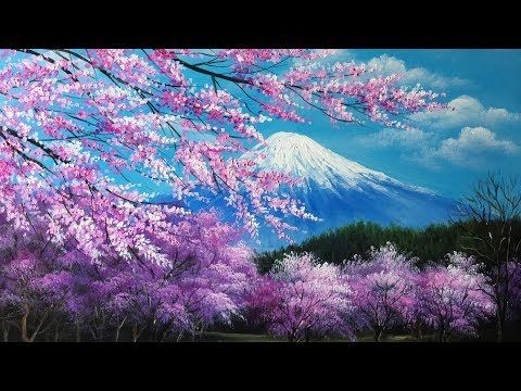 Youtube Cherry Blossom Painting Acrylic Painting Inspiration Tree Painting