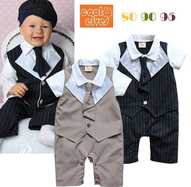 3pcs/lot 2014 summer wear baby boys short sleeve gentleman tie rompers bodysuits ZZ1884 $37.00