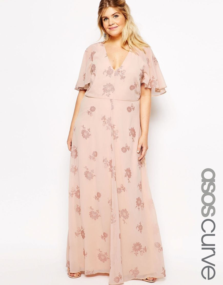 Image 1 of ASOS CURVE Flutter Sleeve Maxi Dress With Pretty Lurex ...
