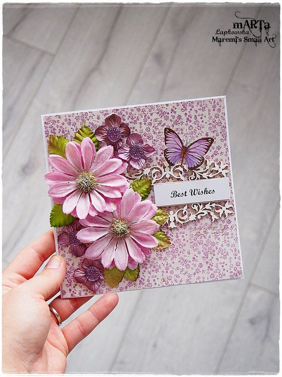 Birthday card 3d greeting card for someone special 6x6 card birthday card 3d greeting card for someone special 6x6 card blank card best wishes pink and purple card with paper nd fabric flowers m4hsunfo