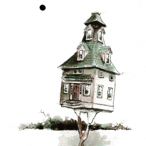 BIRDHOUSE  signed 8x10  Print of an Original Ink by LieseChavez, $25.00