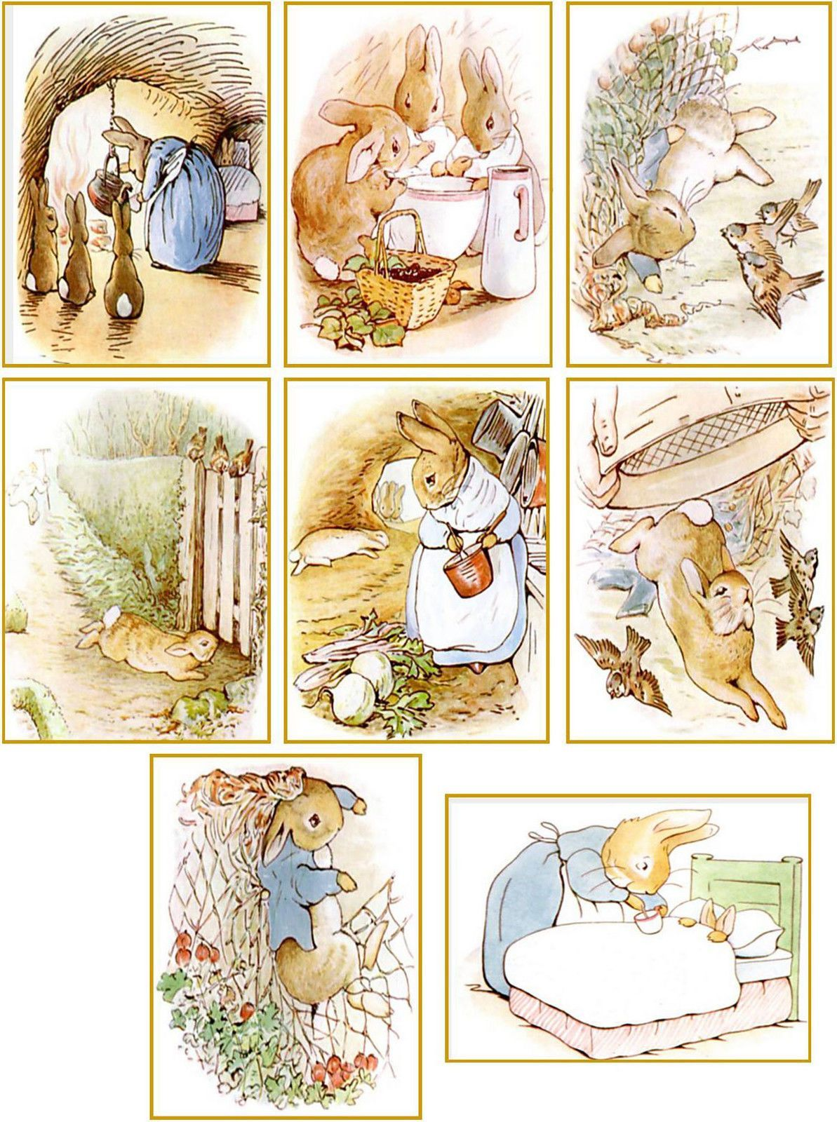 Vintage Beatrix Potter Peter Rabbit Cards Tags ATC Altered Art Set ...
