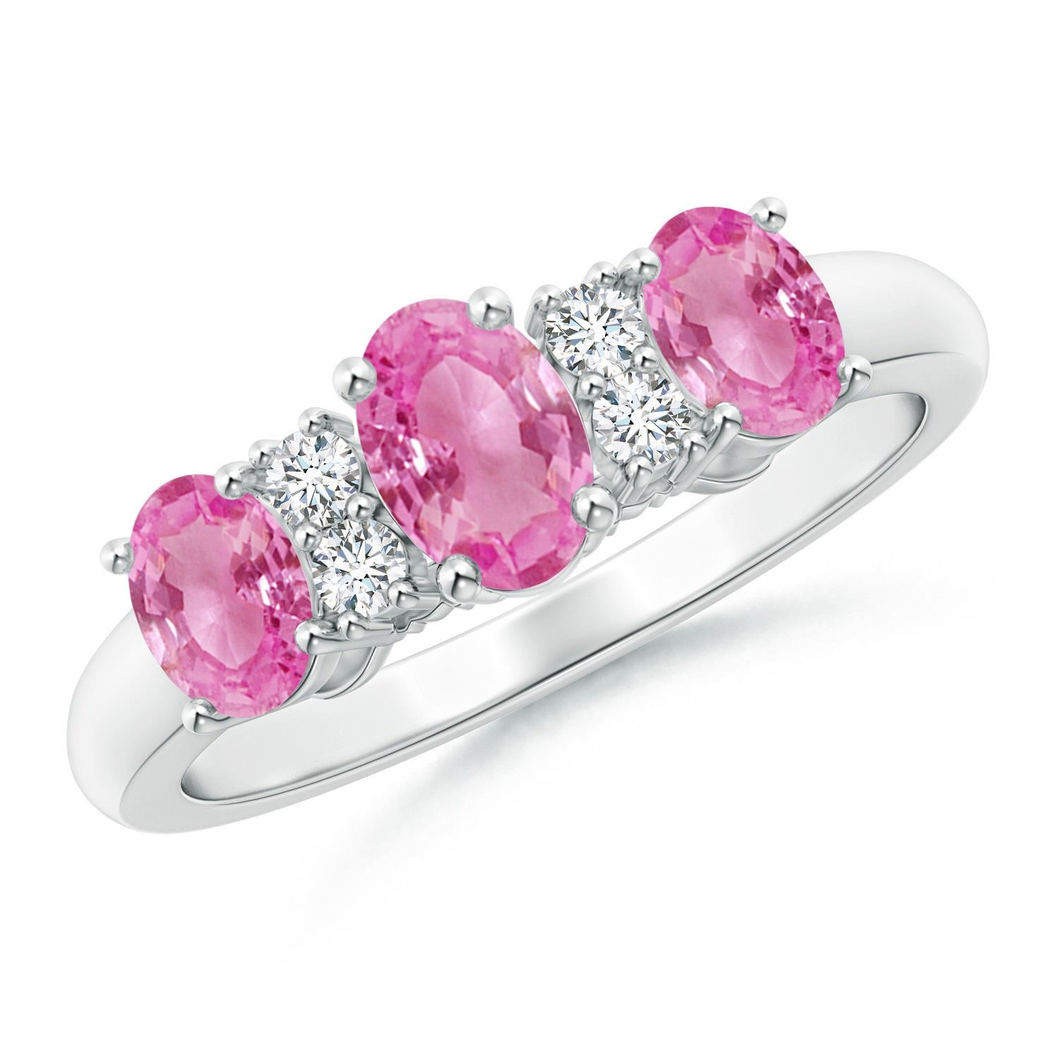 Three Stone Oval Natural Pink Sapphire Diamond Engagement Ring ...