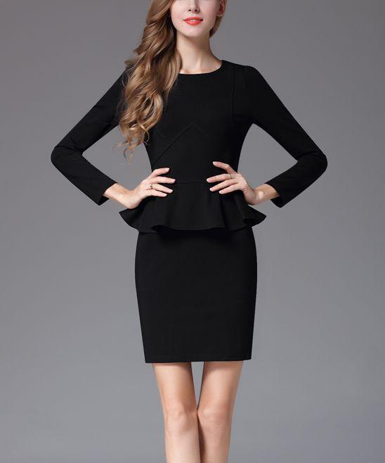 Black Long Sleeve Peplum Dress Products Dresses Peplum Dress