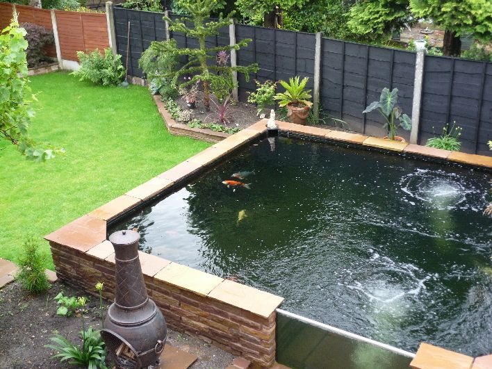 Perfect for modern garden nice idea with the glass for Backyard koi pond ideas