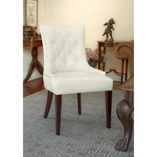 Safavieh Nimes Cream Leather Chair My Office  Pinterest  Side Gorgeous Ivory Leather Dining Room Chairs Design Ideas