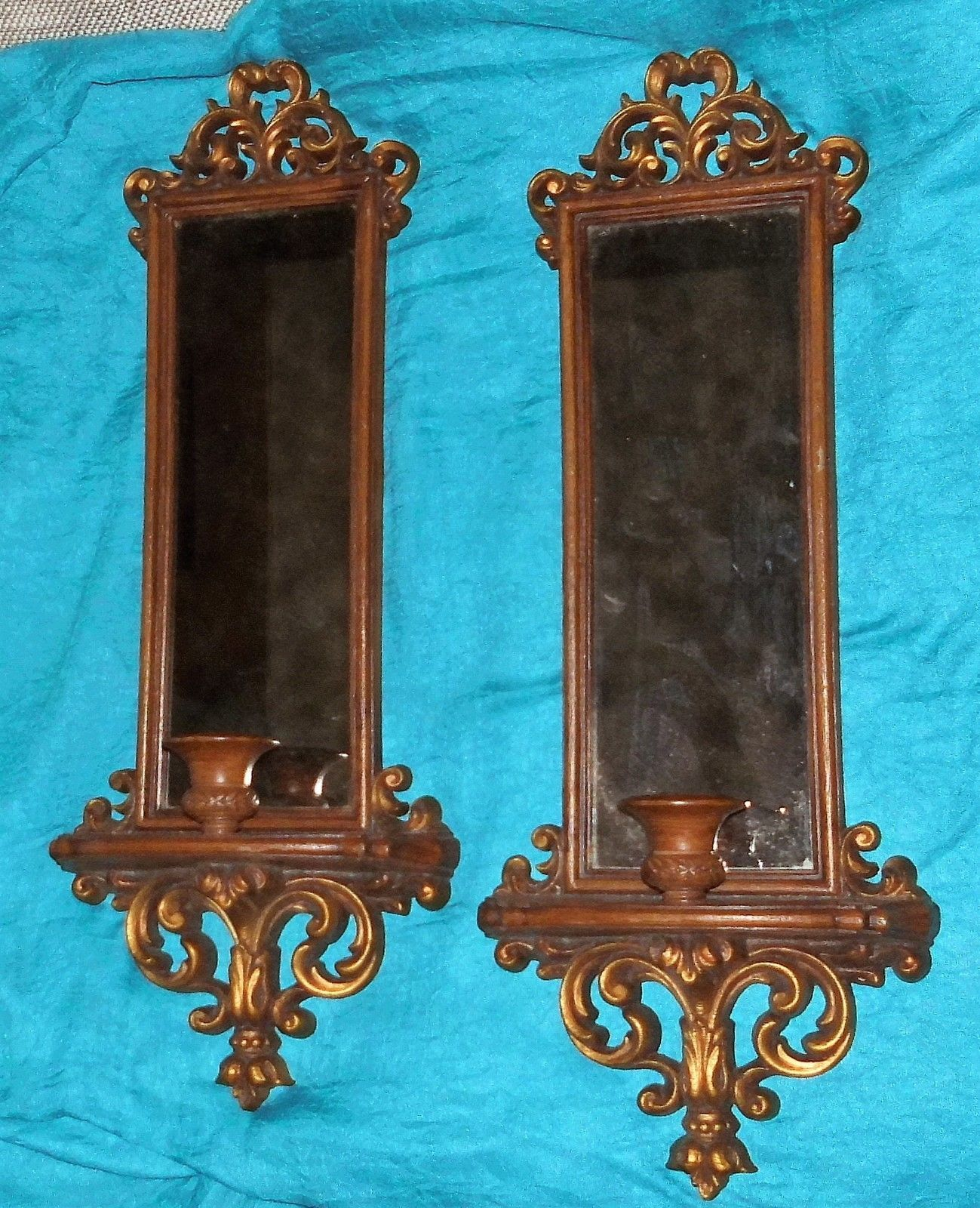 Stunning Vintage Burwood Wall Mirror Sconces Candleholders Fy Home Interior L K Sconces Home Interiors And Gifts Mirror Wall