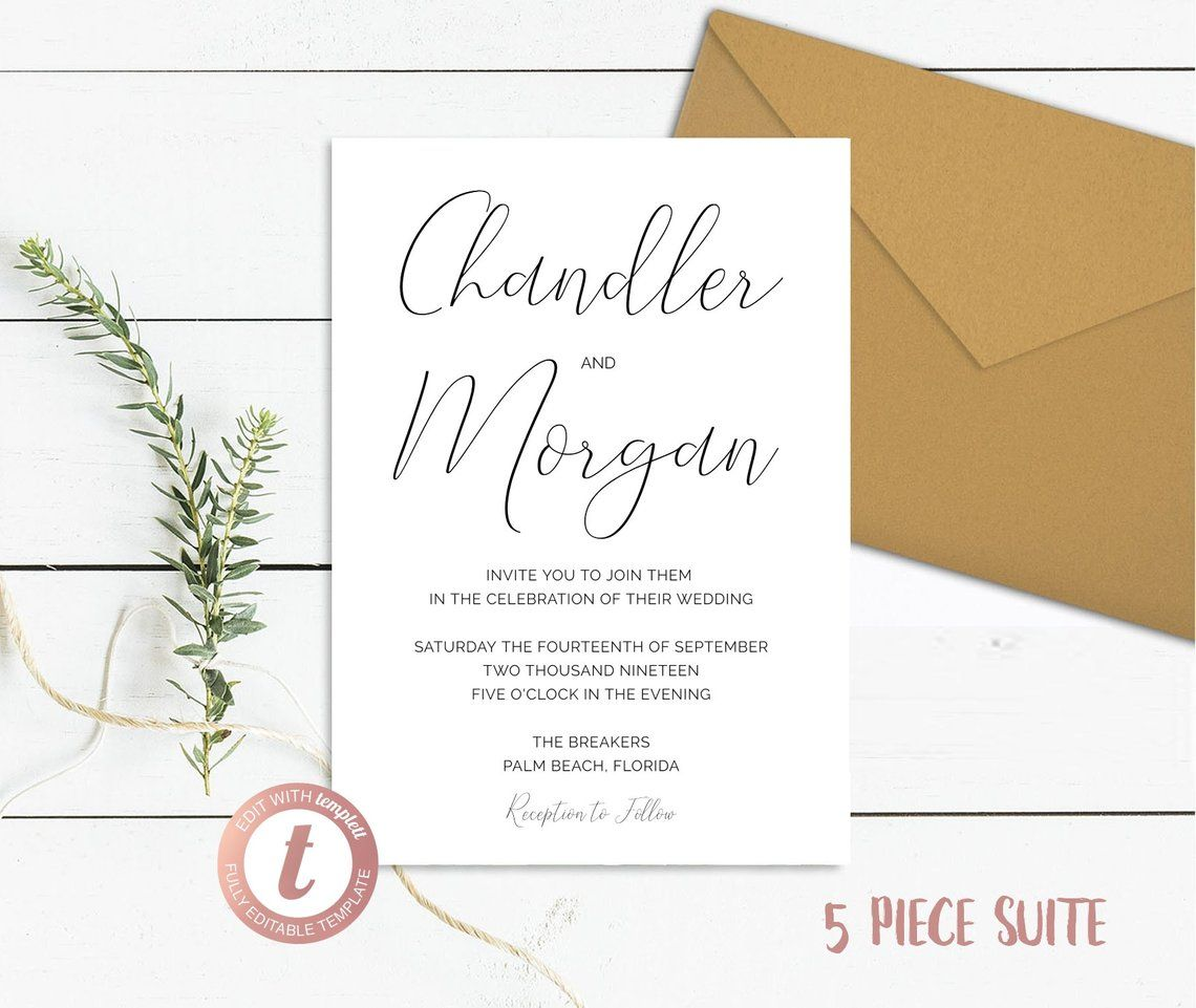 Simple Wedding Invitation 5 Piece Suite Minimal Save The