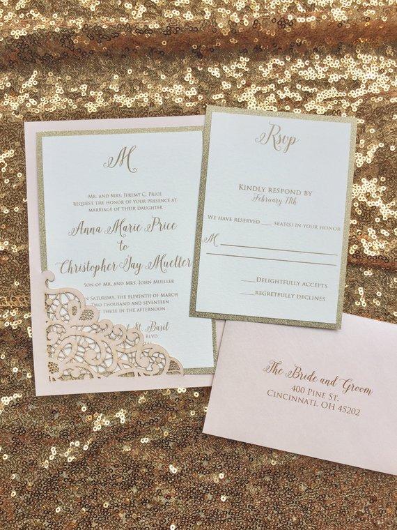Laser Cut Wedding Invitations Gold Invitation Blush And