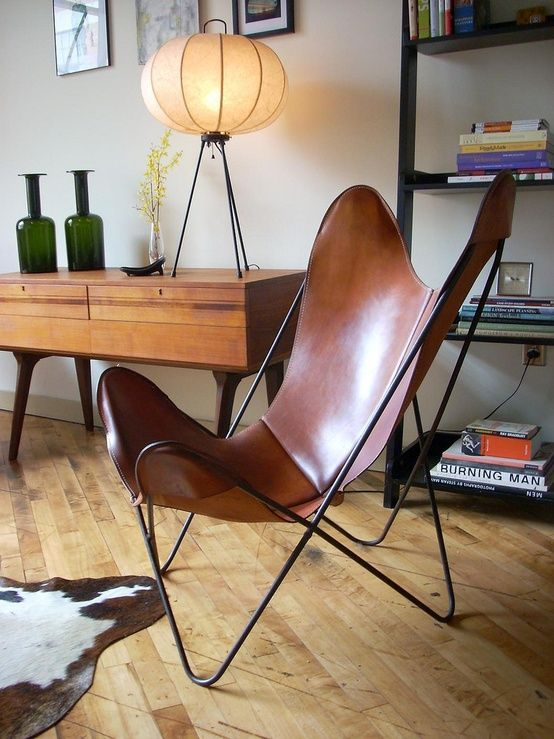 Leather BKF Butterfly Chair, by Bonet, Kurchan, Ferrari-Hardoy, via Killer  Junk Noguchi type lamp