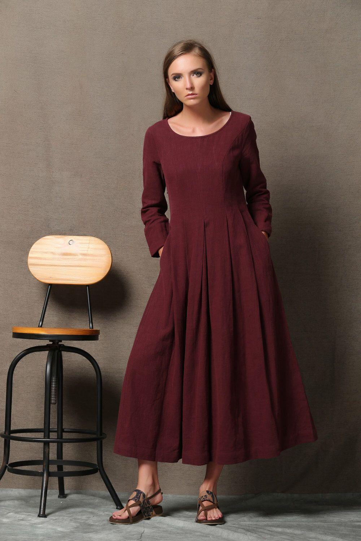 Burgundy linen dress semifitted long maxi plus size