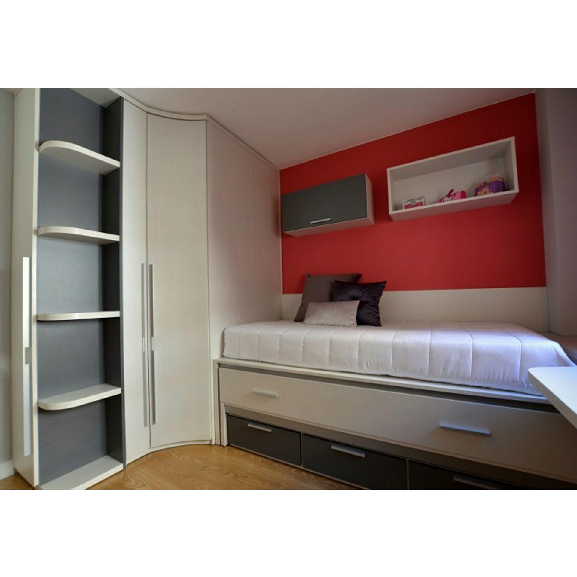 Dormitorio juvenil con armario rinconero de gran capacidad a medida ...