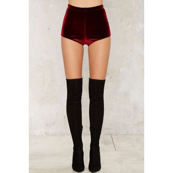 e65f1584cb6e Slayer Velvet Shorts (64 AUD) ❤ liked on Polyvore featuring shorts, velvet  shorts, high-rise shorts, high rise shorts, high waisted stretch shorts and  ...