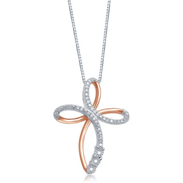 1/10 CT. T.W. Diamond 14K Rose Gold Over Silver Cross Pendant Necklace ($167) ❤ liked on Polyvore featuring jewelry, necklaces, pendant necklace, diamond cross necklace, silver cross necklace, diamond cross pendant and long cross necklace