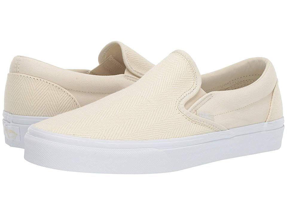 Vans Classic Slip-Ontm Skate Shoes (Herringbone) White ...