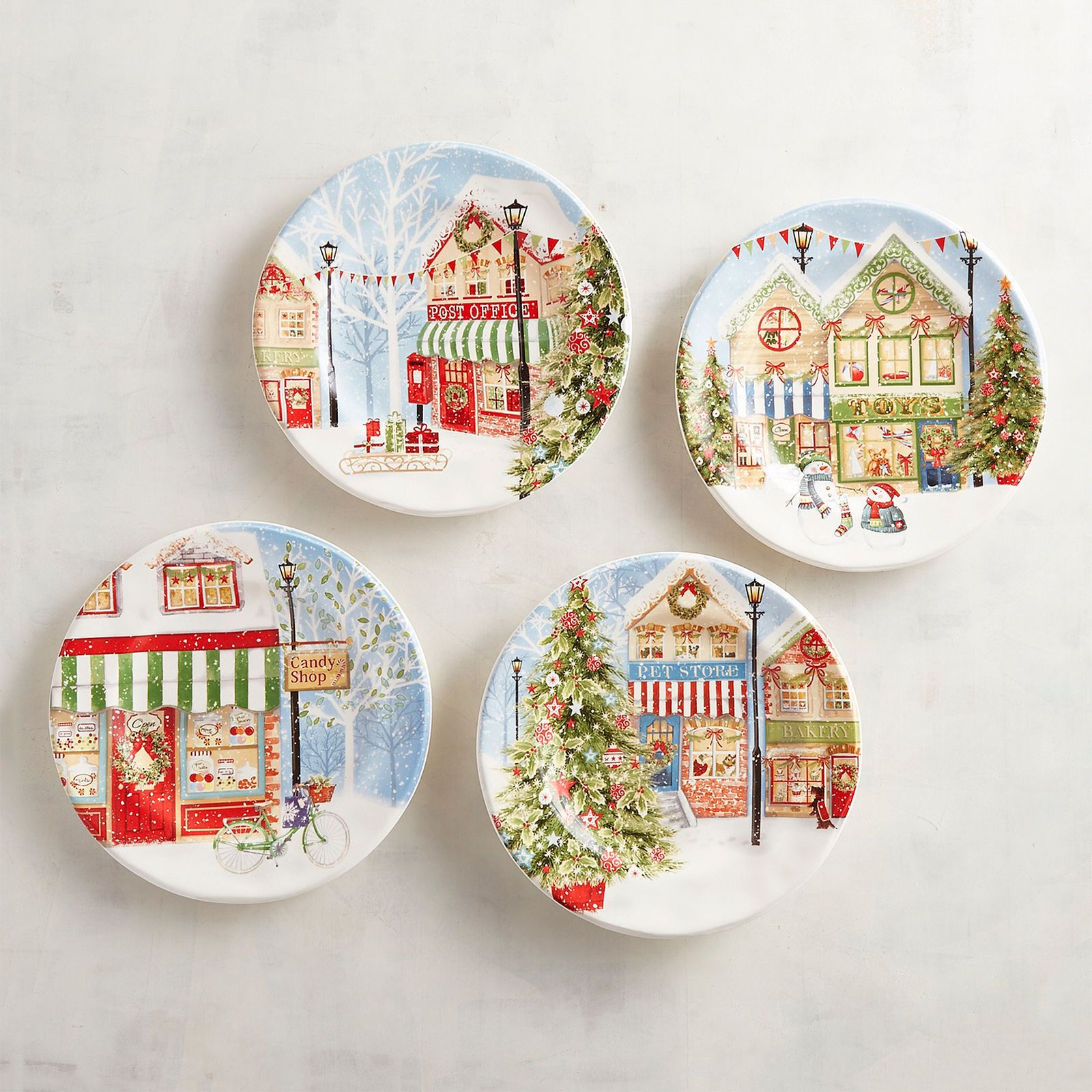 Set the scene for a lovely holiday with our Christmas Village Salad Plate set. Each plate features a different wintery setting thatu0027s pretty and festive ...  sc 1 st  Pinterest & Christmas Village Salad Plates Set of 4 | Pier 1 Imports | Maryam ...