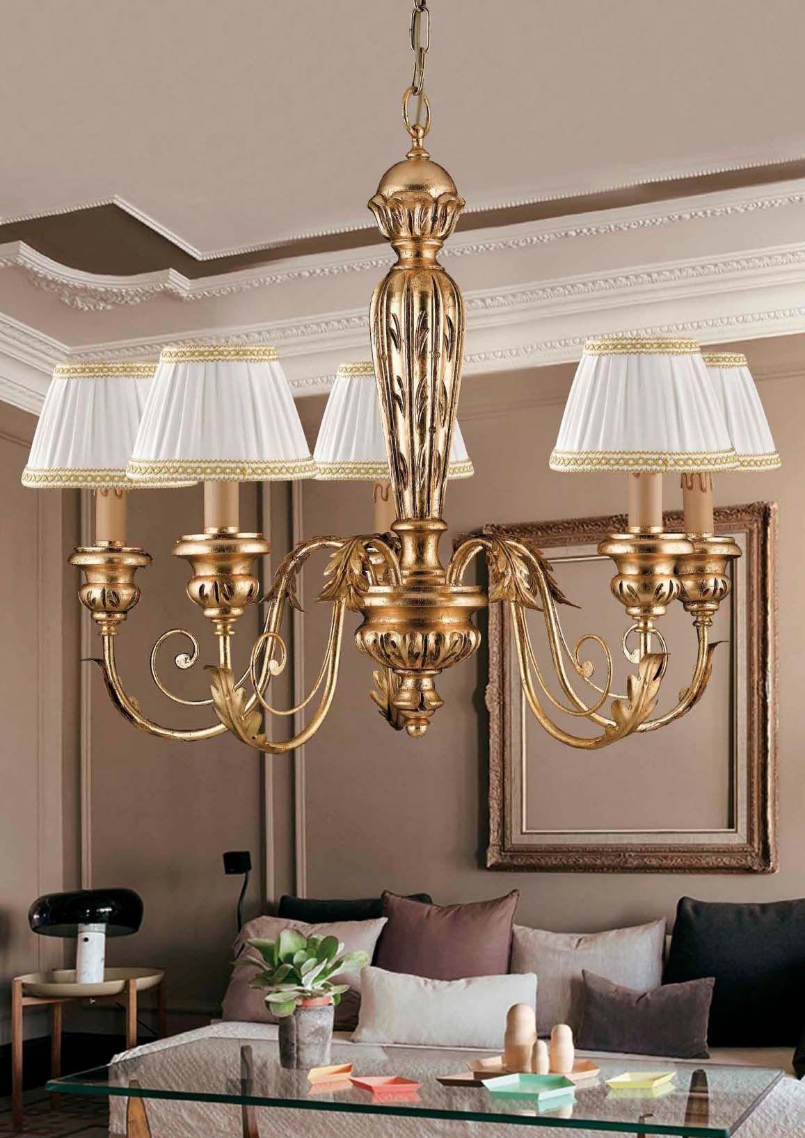 Lampadario classico in legno e ferro battuto 5 luci pre Ls ...