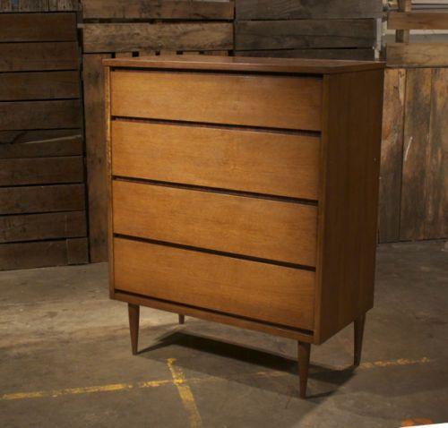 Mid Century Danish Modern Bassett Tall Boy Dresser w Formica Rosewood Accent   eBay