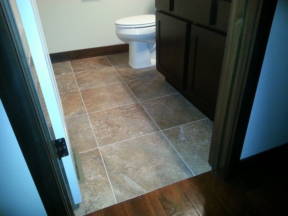 16x16 Luxury Vinyl Tile Grouted For Foyer Kitchen Powder Room