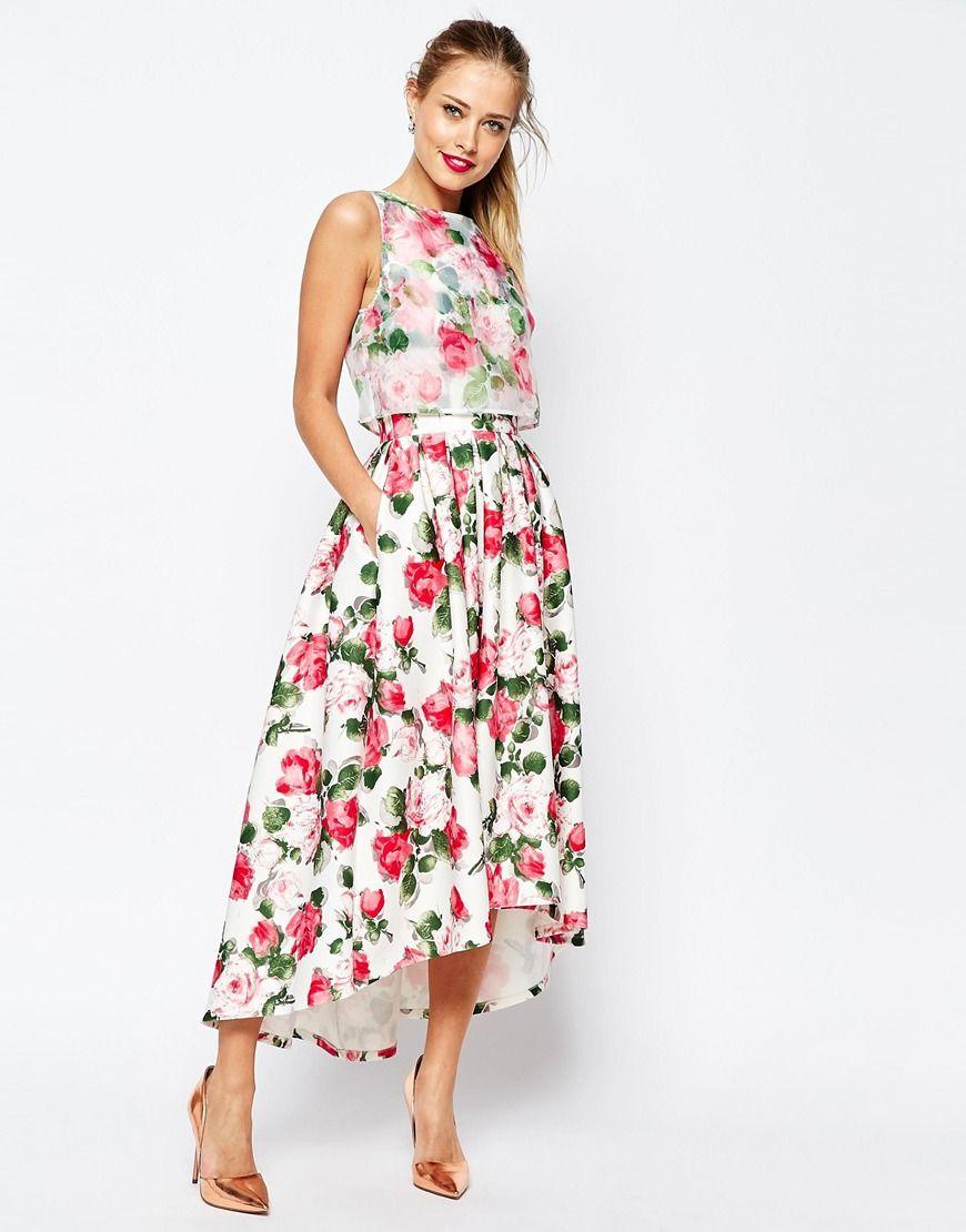 Asos wedding day guest dresses  Image  of ASOS SALON Summer Rose Organza Crop Top Midi Prom Dress