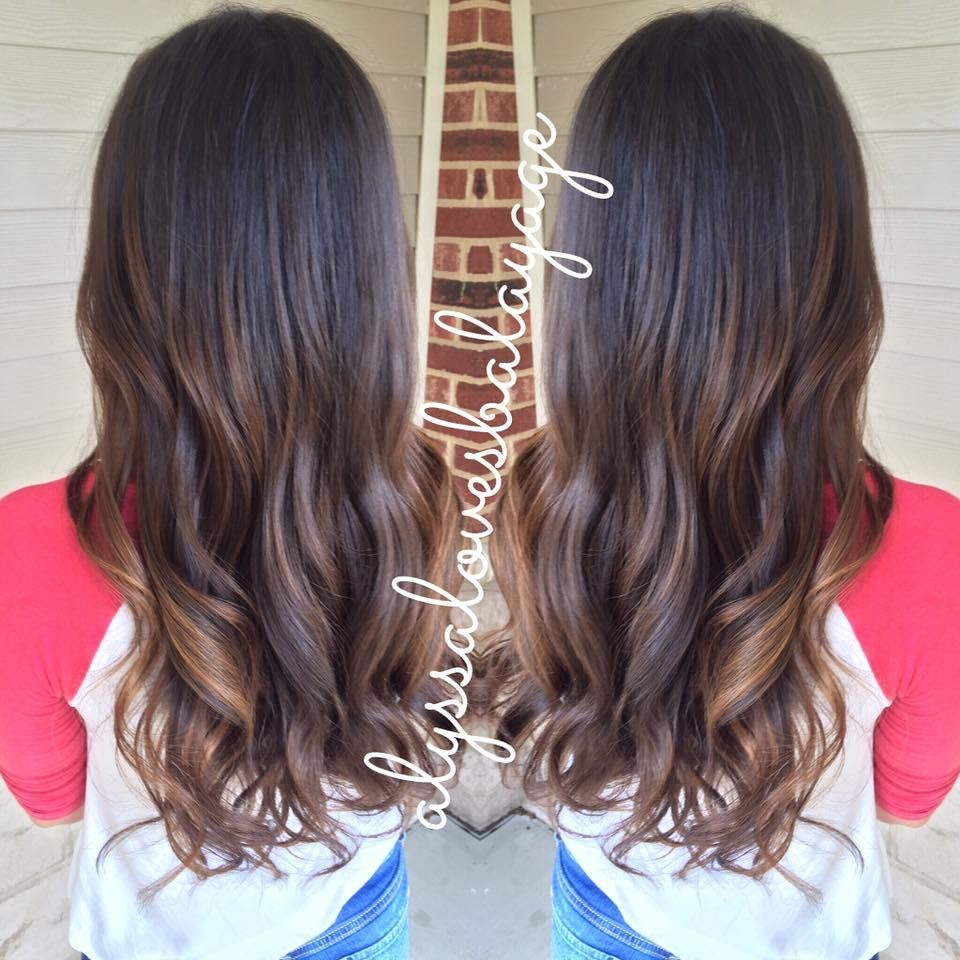 Dark Root Balayage Highlights Curly Hair Brunette Caramel Highlights Ombre Dark To Lig Curly Hair Styles Balayage Hair Purple Balayage Hair Brunette Long