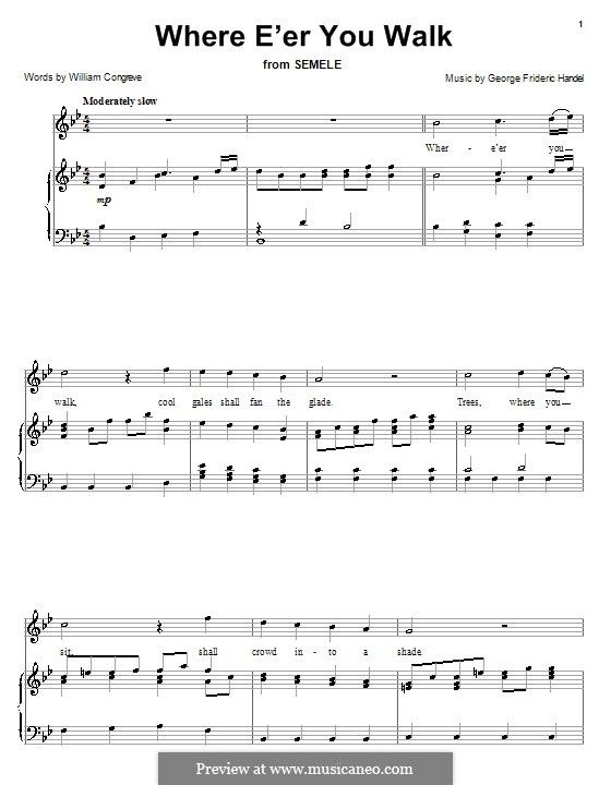 "Where E'er You Walk (from Handel's ""Semele""), voice+piano"