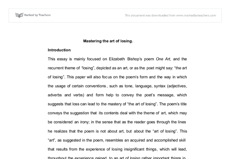 Essay In English Language One Art Elizabeth Bishop Essay  Best Opinion Example Essay Thesis Statement also Argument Essay Thesis One Art Elizabeth Bishop Essay  Best Opinion  Essay Helper  Essays About Business