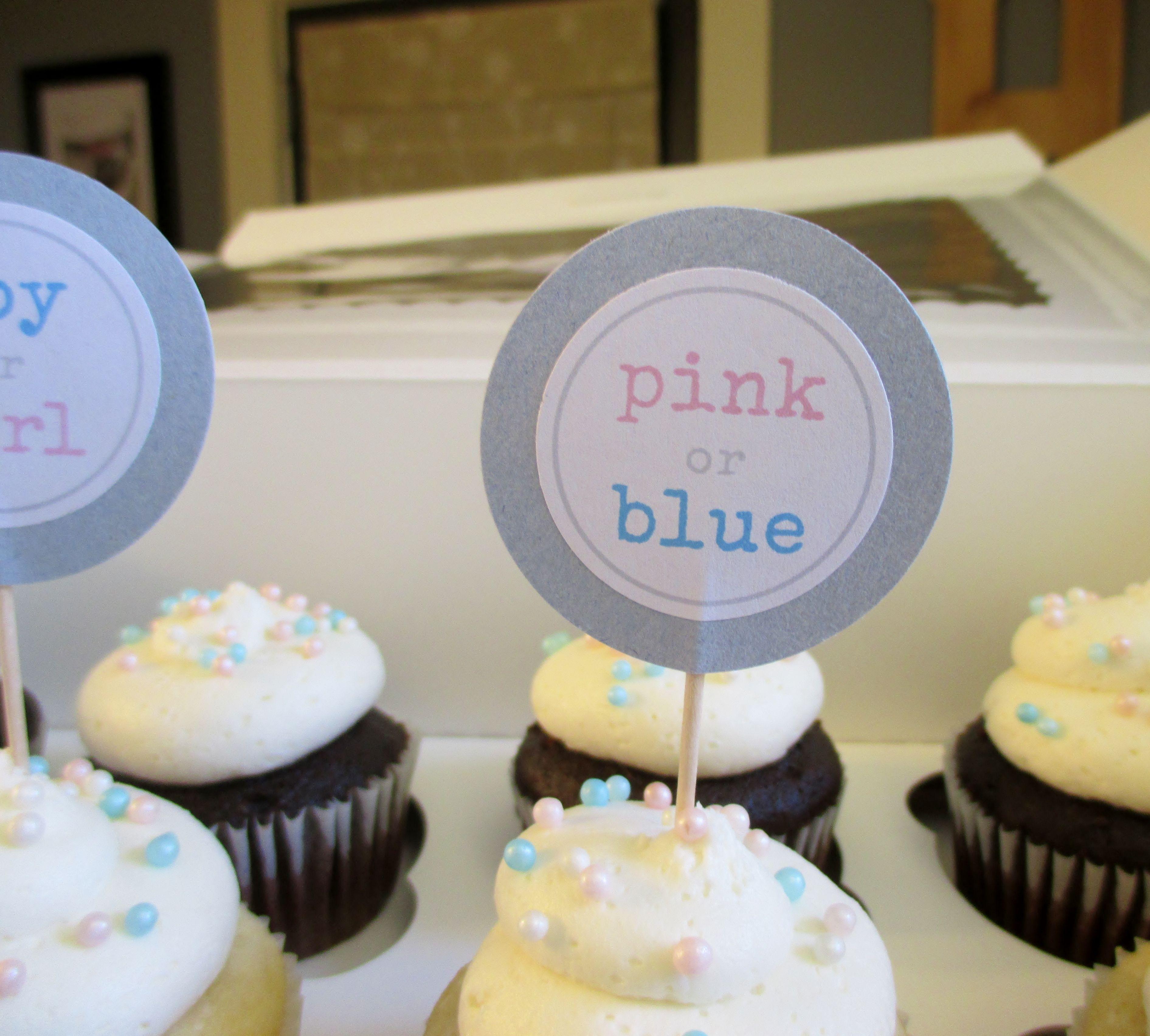 "Gender Reveal"" Baby Shower cupcake order"