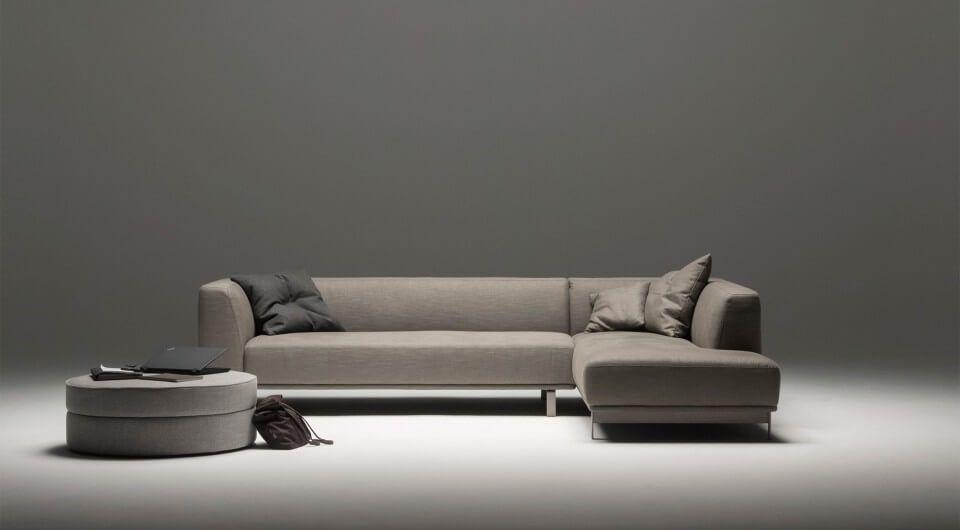 hochwertiges designer 3 sitzer ecksofa in dunkelgrauer stoffausfuhrung von sitzfeldt design sofa