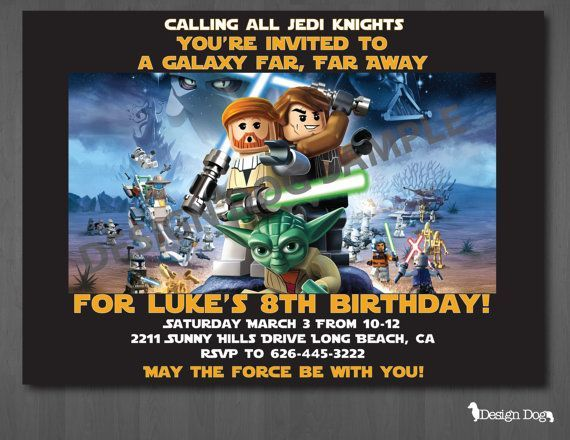 Lego star wars birthday invitations party ideas for kids lego star wars birthday invitations filmwisefo Image collections