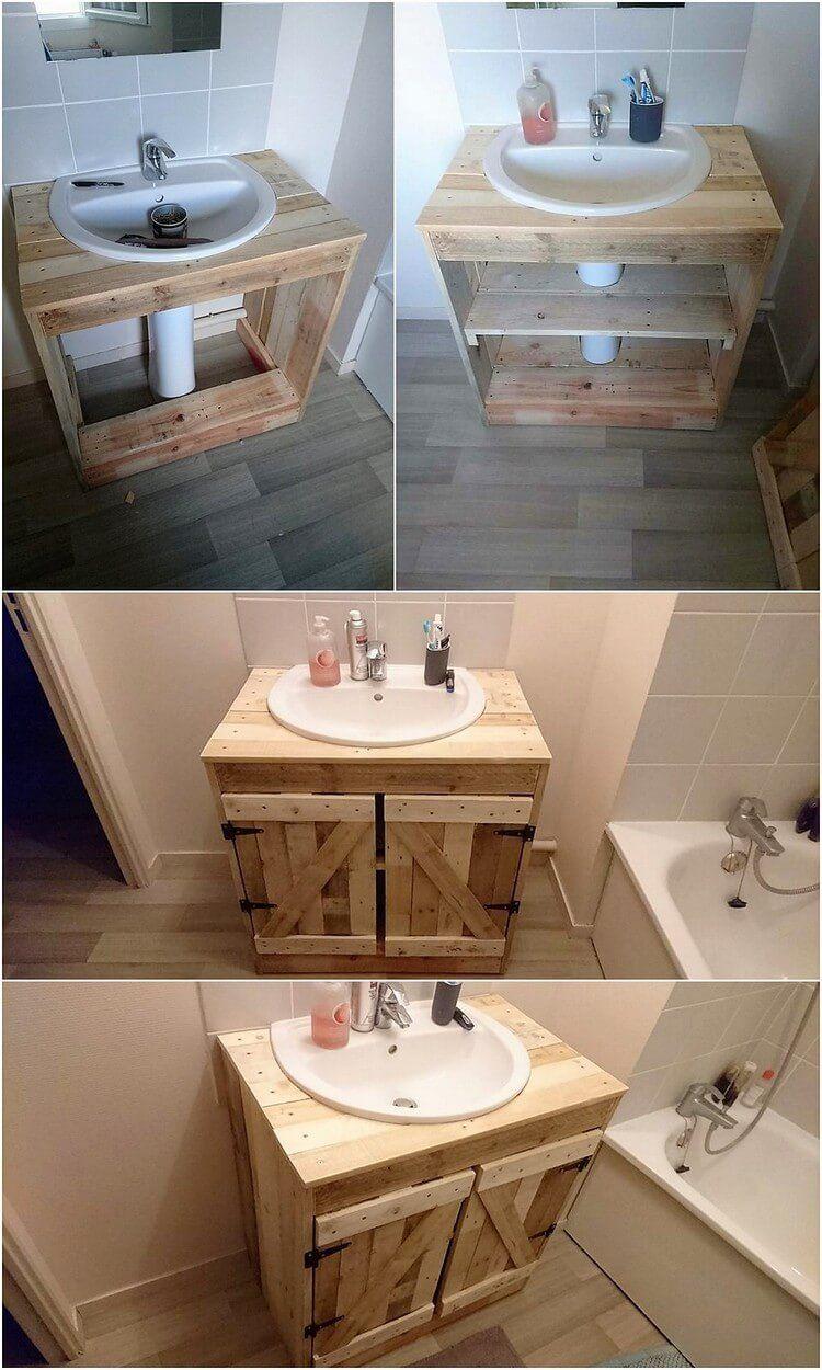 Ideas Ilimitadas Con Paletas De Madera Antiguas De Envio Ideas De Decoracion In 2020 Diy Pallet Furniture Pallet Decor Pallet Bathroom