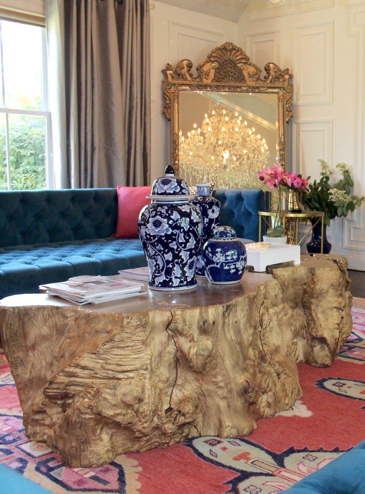 Tree Design Wallpaper Living Room: Chinoiserie Chic, Modern Blue