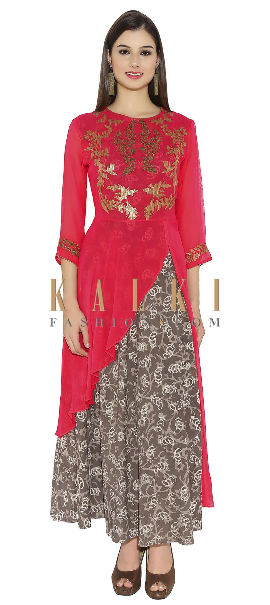 2045b4eccff Rani Pink & Grey Georgette, Cotton Kurti With Printed Lining And Leaf  Designs On Top And High Low Hemline Only On Kalki
