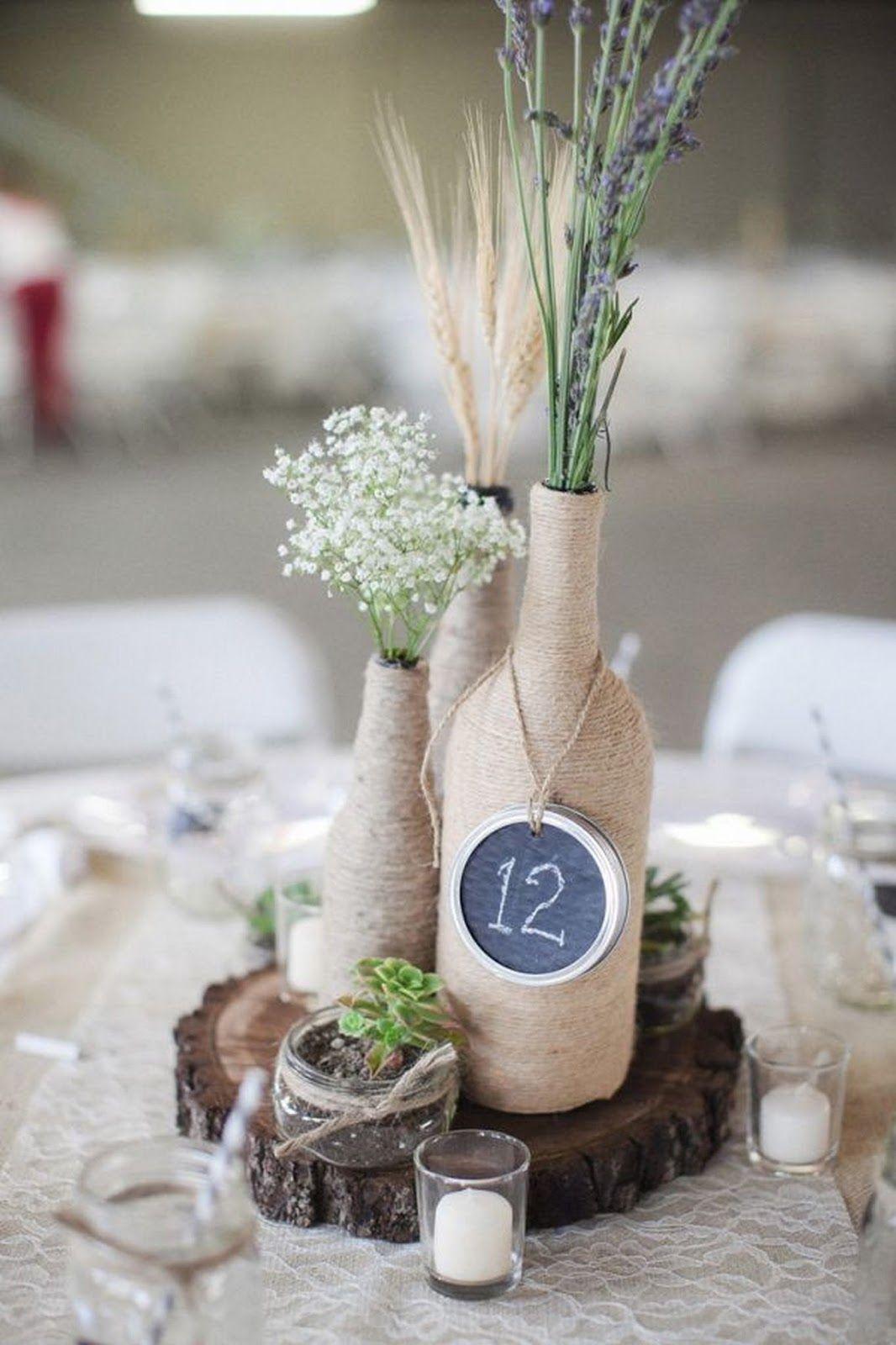 Centros de mesa con botellas para boda centros de mesa - Decoracion con botellas ...