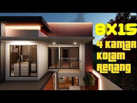 desain rumah 8x15 2 lantai 4 kamar & kolam renang