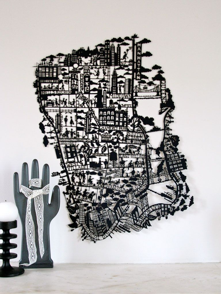 New York laser cut out map