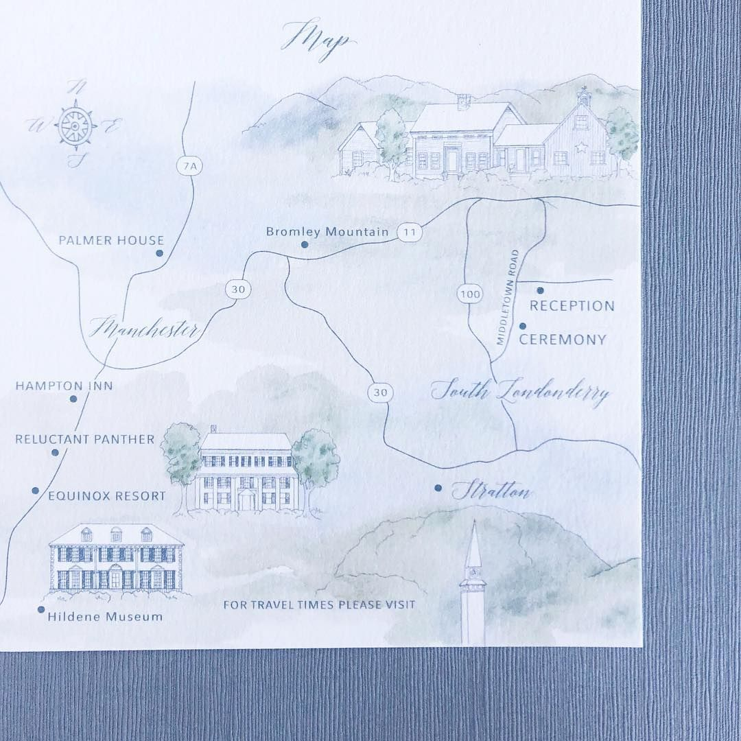 Custom Wedding Invitation Map For A Luxury Outdoor Vermont Wedding
