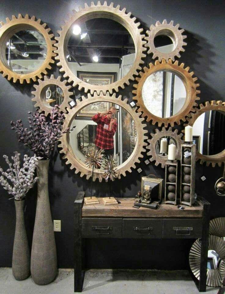 Mirror Gears Steampunk Home Decor Steampunk Bedroom Industrial Style Interior