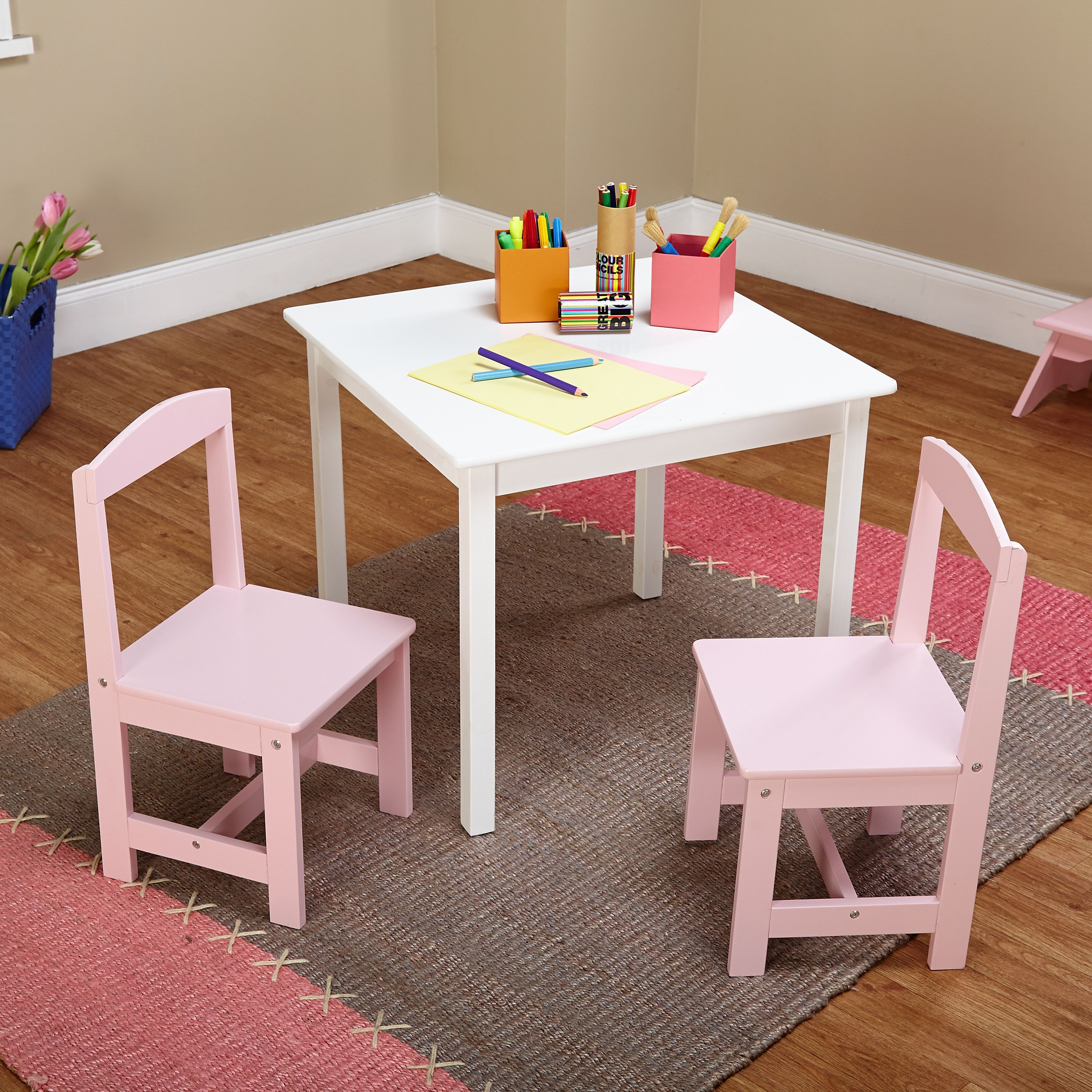 Admirable Simple Living Hayden Kids Pink White 3 Piece Table And Alphanode Cool Chair Designs And Ideas Alphanodeonline