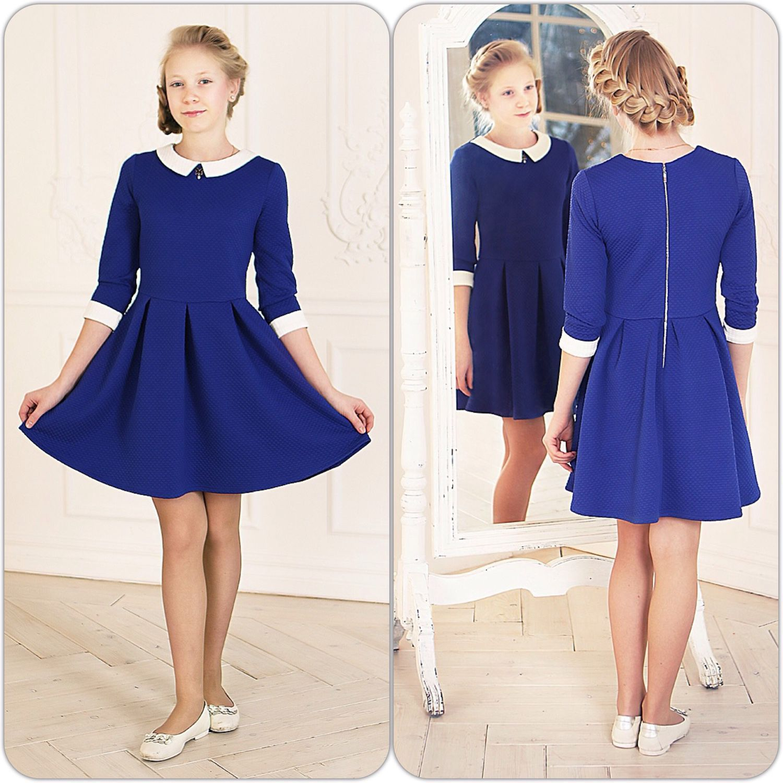 """Купить Трикотажное платье для девочки """"Небеса"""" (синее 78/1) - платье детское трикотаж, для девочки"""