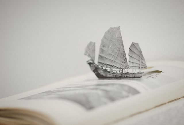 Detail from a beautiful & clever artwork by Eeva-Maija Priha (Matkapäiväkirja I - Laivamatka, 2011)     sailing on literary seas by miemo, via Flickr