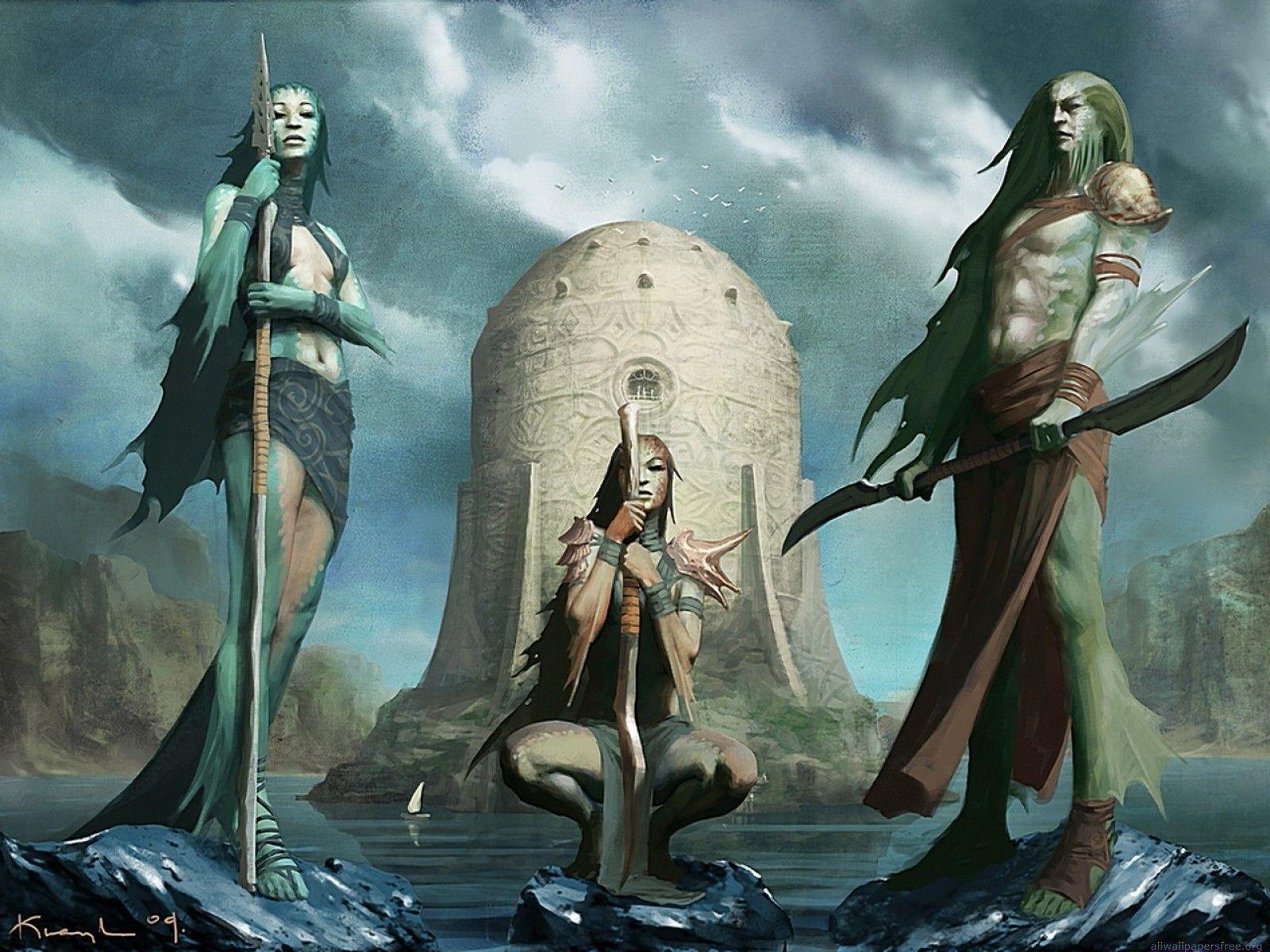 Merfolk Shark Alpha Coders Wallpaper Abyss Fantasy