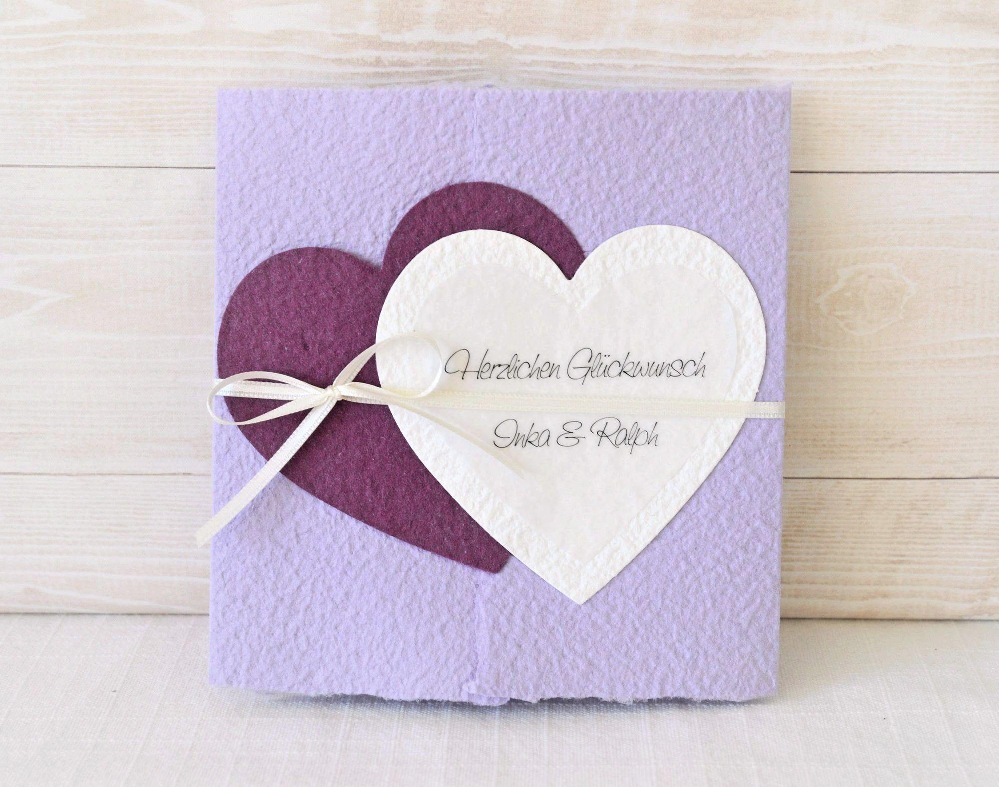 Hochzeitskarte Vintage Herzen aus handgemachtem Papier