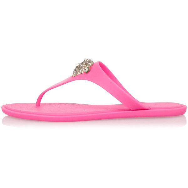 bdf744c7b0618 Versace Rubber Flip Flop ( 185) ❤ liked on Polyvore featuring shoes ...