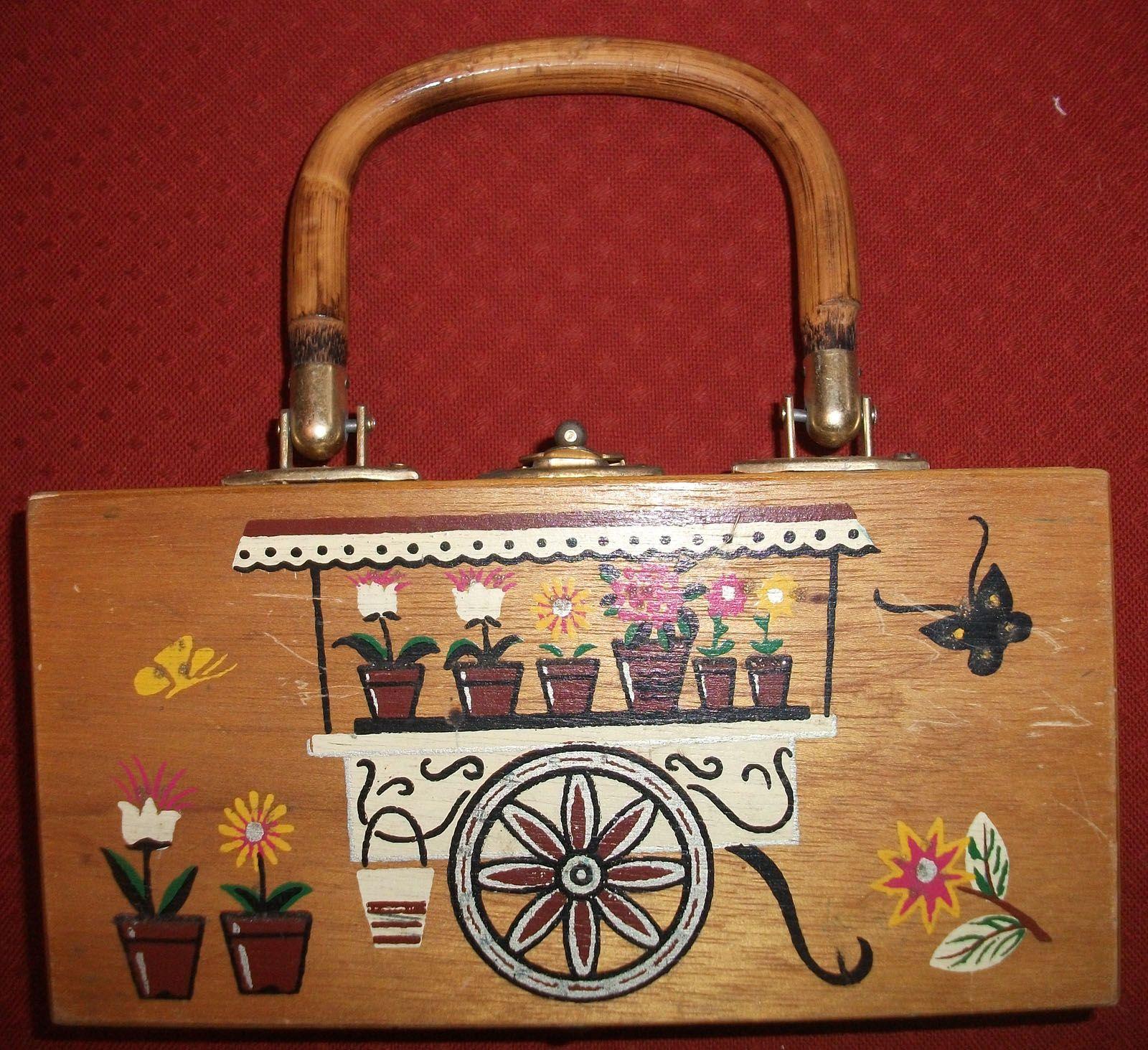 Vintage 1950s Wood Box Purse By Designer Gary Gail Of Dallas Made In Hong Kong Sold Vintage Inspired Handbags Vintage Box Wood Boxes