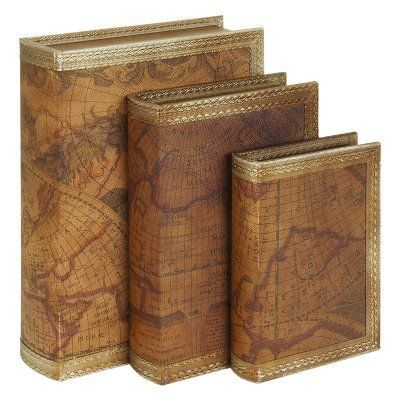 Decmode old world map book decorative box set of 3 65412 box decmode old world map book decorative box set of 3 65412 gumiabroncs Image collections