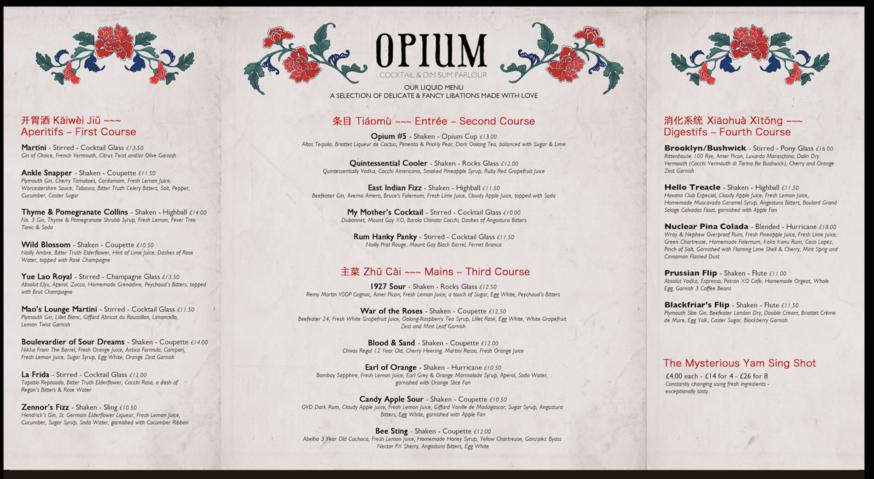 Opium Dim Sum & Cocktail Parlour Menu Design