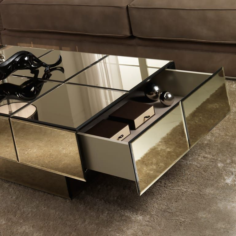 Italian Designer Bronze Glass Storage Coffee Table In 2020