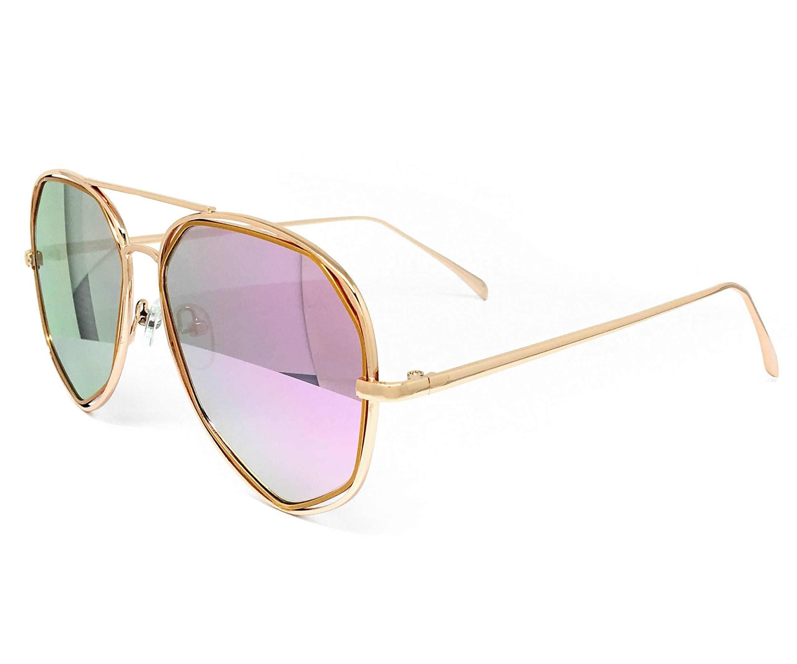 37b4b4f779848 O2 Eyewear 6554 Premium Retro Womens Mens Mirror Funky Fashion Geometric  Revo Candy Flat Top Aviator