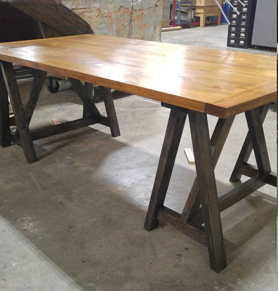 Rustic, Industrial, Loft Style, Sawhorse Desk, Kitchen Table, Office  Conference Table Ideas